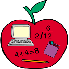 apple with math equations